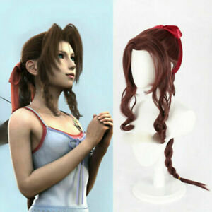 Final Fantasy VII Aerith Cosplay Curls Horsetail Twisted Wig+Headwear