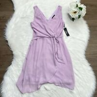 Lulus NWT Lilac V Neck Wrap Dress Sz Medium Tie Waist High Low Knee Length