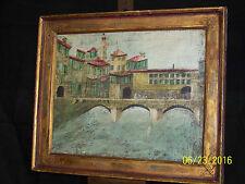 "Italian Mid-Century Original Oil ""Ponte Vecchio-Florence"" Painting Artist Signed"