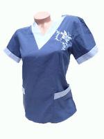 New Women Nursing Scrub Navy Ceil Blue Embroidery Poly/Cotton Top XS S M L XL