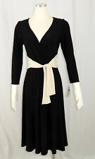 Jones New York 8 Black Dress Cream Ivory Sash Tie 3/4 Sleeves V-neck Full Skirt
