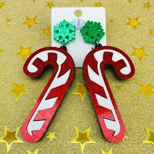 Acrylic drop dangle earrings Christmas glitter candy cane stainless steel xmas