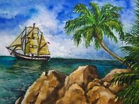 Watercolor Painting Ocean Sailboat Yacht Palm Tree Island Nature ACEO Art