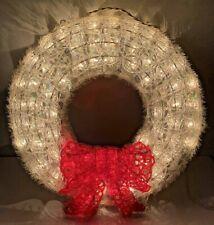 Vtg Christmas Wreath White Red Bow Bright Light up Drizzle Melt Plastic Rare