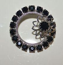 Silver Metal Tone Metal Black Crystal Circle Flower Pin Brooch