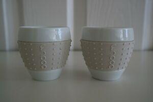 Bodum Pavina White Ceramic Double Wall Espresso Cups Beige Silicon Sleeve x 2
