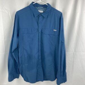 Columbia Omni Shade Sun Protection Mens Hiking Shirt Blue Mesh Lined Pockets M