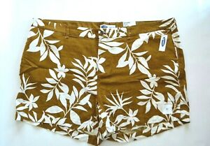 New Old Navy Brown White Floral Womens Plus Size 26 Linen Blend Everyday Shorts