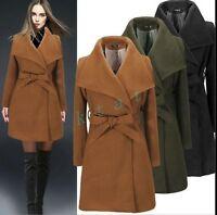 British Womens Trench Lapel Wool Blend Belt Jacket Coat Parka Peacoat Slim Fit