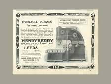 1922 Henry Berry And Company Leeds, Hydraulic Forging Press