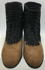 J. Chisholm Womens Lace Up Kiltie Roper Western Cowboy Boots Size 10 Made in USA
