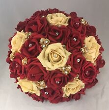 BRIDE ARTIFICIAL WEDDING FLOWERS RUBY RED GOLD FOAM ROSE BOUQUET POSIE ASIAN