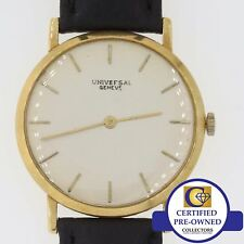 Vintage Universal Geneve Solid 18k Yellow Gold Thin Automatic 32mm Watch A8