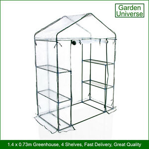 Greenhouse Garden Universe WalkIn PVC Cover 4 Shelves 1.4m x 0.73m Roll Up Door