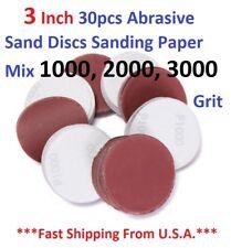 3 Inch 30pcs Abrasive Sand Discs Sanding Paper Mix 1000, 2000, 3000 Grit