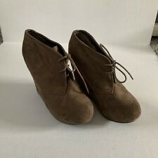 Breckelles Brown Soft Wedge Lace Up Ankle Booties Heels Soze 9
