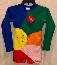 HANNA ANDERSSON Sunblock Rashguard L/S Blue Green Yellow Pink Swim Suit Girls 10