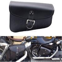 Noir sacoche sac cuir moto custom caisse outils Bag pour Harley Divadson choper