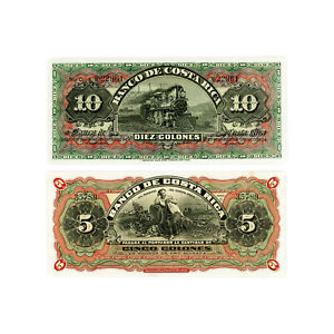 Set of 2 diff. Costa Rica 1901-08 10 Col. P-S174, 5 Col. P-S173 Au-Unc.