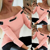 Women's Sexy Skinny Off-Shoulder Knit Top Lace up Long-sleeved Blouse T-Shirt