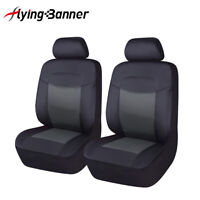 Universal 2 Front Car Seat Covers Black PU Leather Breathable Airbag Compitable