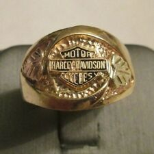 10K GOLD HARLEY DAVIDSON MOTOR CYCLES RING  15 MM WIDE SIZE 11