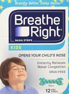 12 BREATHE RIGHT Nasal Strips for Kids Children Child Size Nose Band Breath Rite