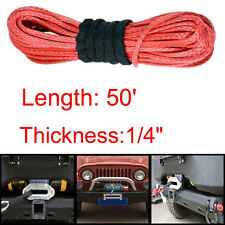 50ft Red Dyneema Synthetic Winch Line Cable Rope 6400 LBs for SUV ATV UVT Pickup