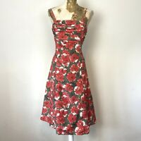 Laura Ashley Dress 10 Aline Fit Flare Poppy Floral Silk Blend Ruched Occasion