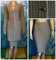 St John Collection Beige Long Jacket Skirt L 14 12 2pc Suit Black Cream Buttons