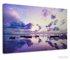 Amazing Small Boats Floating On Violet Clouds Canvas Wall Art Picture Print