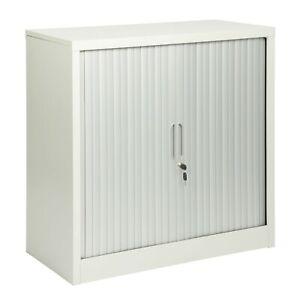 Steel 2 Door Grey Office Storage Cupboard Lockable Tambour Sliding Doors 90cm(h)