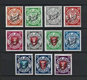 DR WWI Germany Danzig Rare WW Stamps 1924 Overprint Dienst Signed Full Set 41-51
