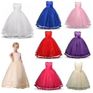 Girl Bridesmaid Dress Baby Flower Kid Party Rose  Wedding Dresses Princess UK