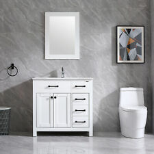"36"" Bathroom Vanity Cabinet & Undermount Ceramic Vessel Sink Shaker Vanity Set"