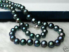9-10 MM TAHITIAN GENUINE BLACK PEARL NECKLACE 20''AAA+