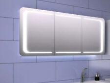 Moderner Design- Spiegelschrank 140 cm  mit LED Lichtband Korpus weiß glanz
