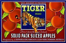 Tasmania Australia Tiger Apple Fruit Crate Label Art Print