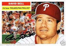 DAVID BELL SIGNED 2005 TOPPS HERITAGE PHILLIES CARD ~AUTHENTIC / JSA (SPENCE)
