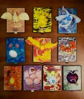 Vintage Lot of 10 Pokemon The Movie 2000 Burger King Toy Figure Cards That Move