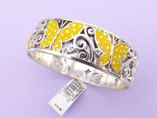 BRIGHTON Silver Bangle Bracelet SUNNY WINGS Yellow Butterfly