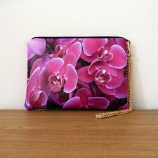 Clutch Bag Pink Hand Floral Evening Strap Faux Leather Purse Handmade Travel