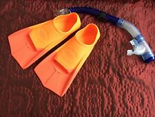 snorkle Flippers Bundle Size 3-4 (35-36 Eur) Orange Scuba Diving Swim Summer