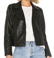 NWT Blank NYC Women's Black Vegan Faux Leather Moto Jacket Size S