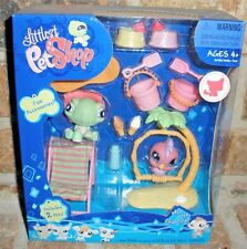 Littlest Pet Shop TURTLE sit up 922 TOUCAN 923 Themed GIFT SET 2008 VHTF beach+