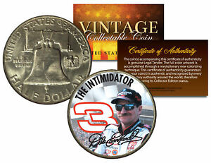 DALE EARNHARDT *THE INTIMIDATOR* Colorized 1951 Franklin Silver Half Dollar Coin