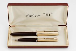 VINTAGE PARKER 51 AEROMETRIC Fountain Pen + Pencil BOXED SET [FULLY RESTORED]