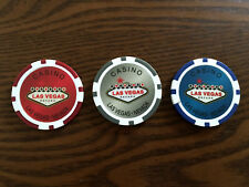 New Las Vegas Nevada Casino Souvenir Poker Chip Set of 3 Red Gray Blue No Value
