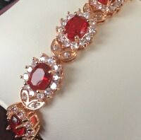 "GB Red Ruby Sim Diamond Adjustable 7-8"" ROSE GOLD Filled Bracelet Plum UK Boxed"