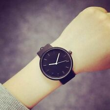 Stainless Steel Faux Leather Big Round Dial Couple Wristwatch Quartz Analog Black